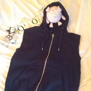 H & M sleeveless, zip, black hoodie